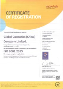 Global Cosmetics Company Certification ISO9001 1 212x300 - Quality Management System