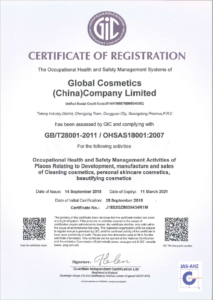 Global Cosmetics Company Certification OHSAS18001 1 213x300 - Quality Management System